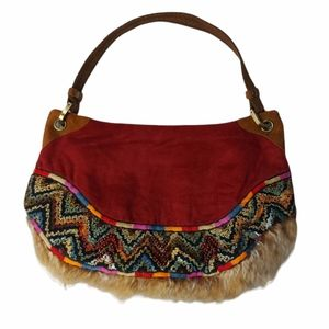 Free Bird NWT Faux Suede Red Beaded Satchel Purse